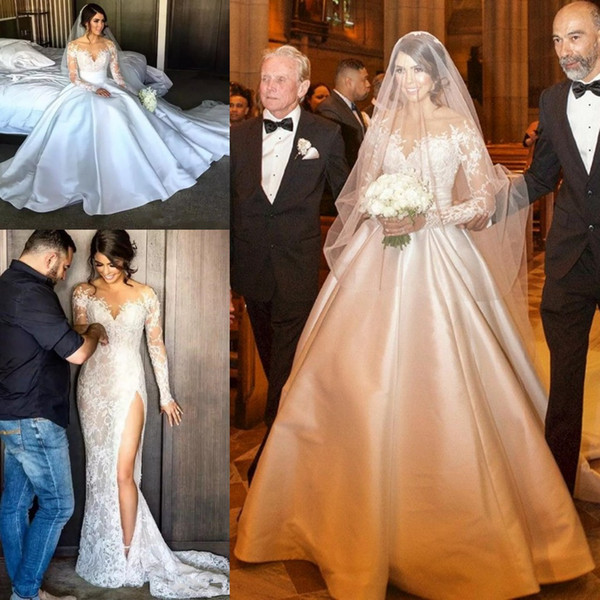 Split Lace Стивен Халил Line Свадебные платья с Съемные сатин юбка кружева иллюзиям длинными рукавами Свадебные свадебные платья