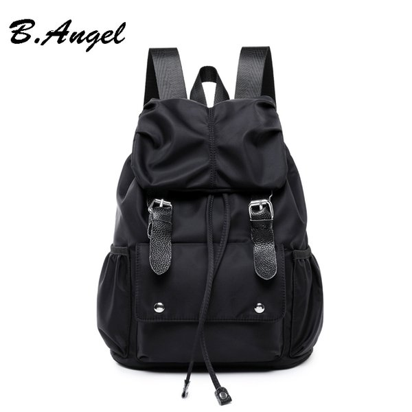 Women's Water-repellent Nylon cloth Leather Matching Drawstring Practical Shoulder Backpack Handbag Traveler Bag Student's School Bags