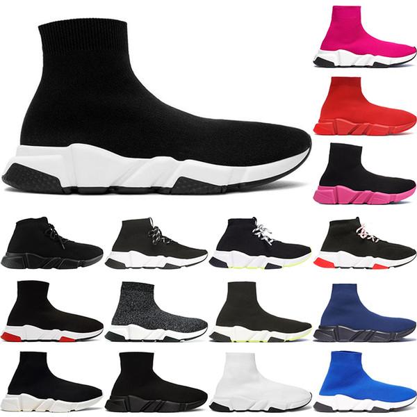 2020 Tasarımcı Hız Eğitmen Erkekler Kadınlar Çorap Ayakkabı Siyah Mavi Kırmızı Koyu Lüks moda Boots Eğitmenler Runner Walking spor ayakkabıları 36-45