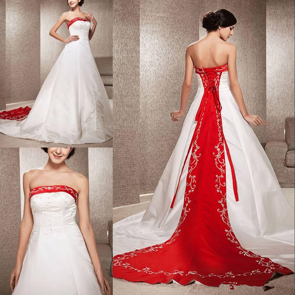 Elegant A-line Strapless Satin Wedding Dresses with Embroidery Beads Backless Lace-up Back Court Train Mixed Color Custom Made Bridal Gowns