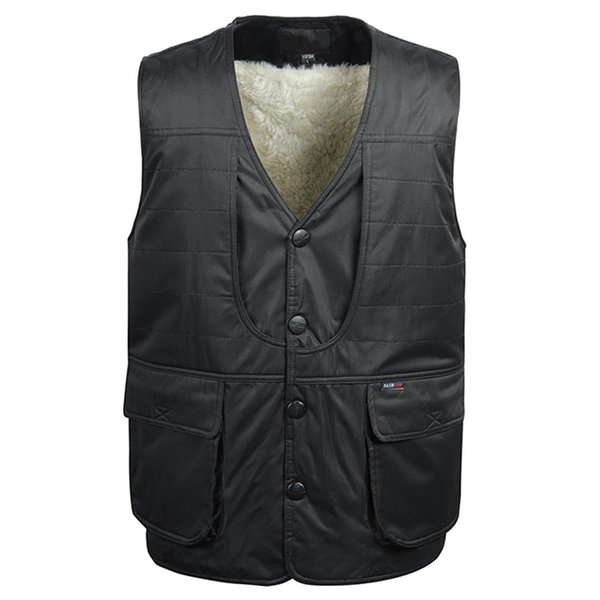 Fleece Warm Padded Men Vest Winter 2019 Male Casual Green Black Photographer Multi Pocket Sleeveless Waistcoat With Many Pockets