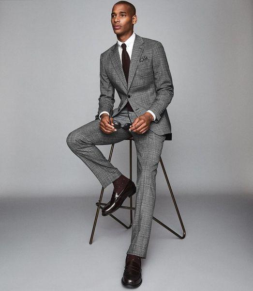 Grey Check Tuxedos Hommes 2 Pièces Pantalons Coupe Slim Costumes Groom Men Costumes Blazer Prom formelle (veste + pantalon)