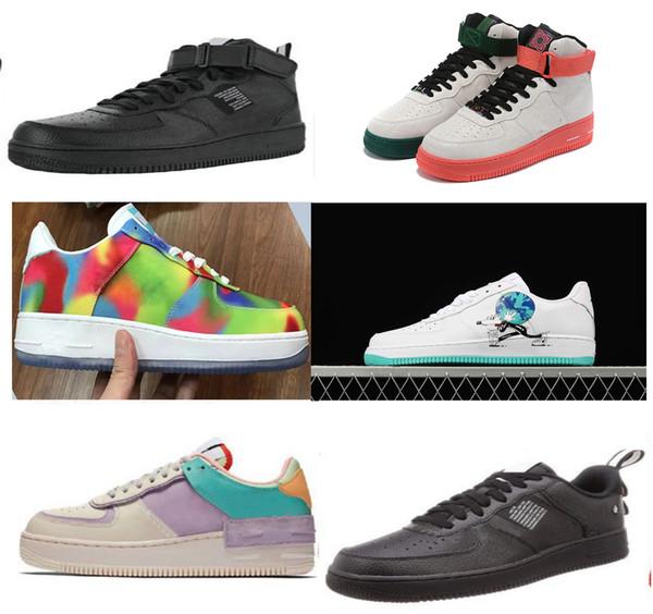 2019 chegam novas off Forças uma mulheres Homens Running Shoes Airs Almofada 1 Black White Baixo One Sport calçam as sapatilhas