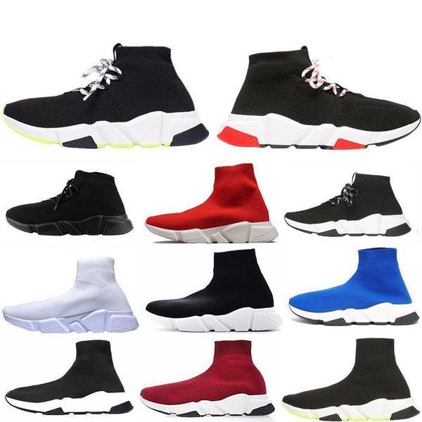 New Designer Speed Trainer homens moda mulheres Meias de inicialização preto branco azul rosa vermelha Plano mens Trainers Sneakers Runner Casual Shoese462 #