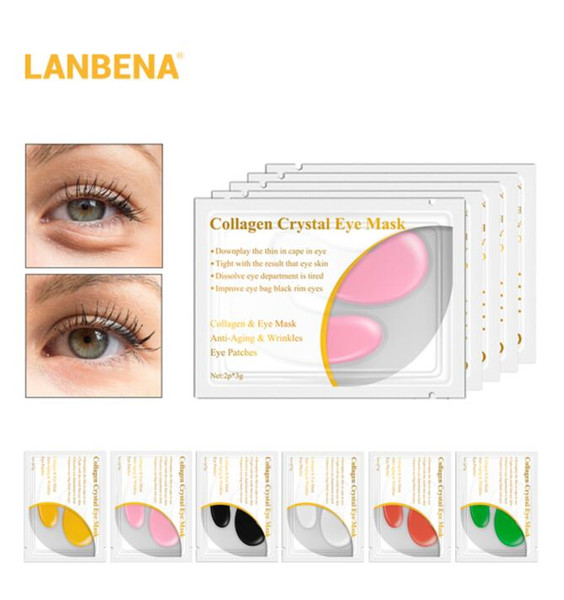 top popular Lanbena 24k Gold Crystal Collagen Eye Mask Eye Patches Dark Circle Puffiness Remove Eye Bag Skin Care 2021