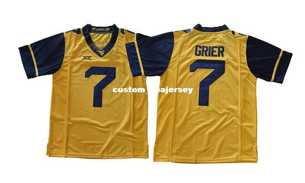 Cheap custom Will Grier Jersey #7 West Virginia Mountaineers Football Jersey Gold Stitched Customize any number name MEN WOMEN YOUTH XS-5XL