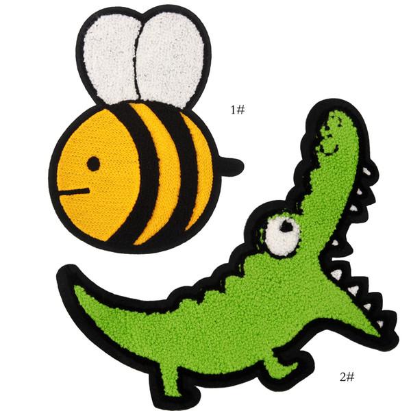 parches de cocodrilo de chenilla bordados para chaquetas, insignias de animales bordados, apliques para jeans, parches de abeja para ropa