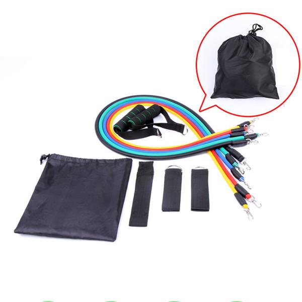 11 adet Spor Direnç Bantları çekme halatı elastik halat bir lateks Direnç Egzersiz Band Seti Yoga Tüp 50 setleri ZZA183