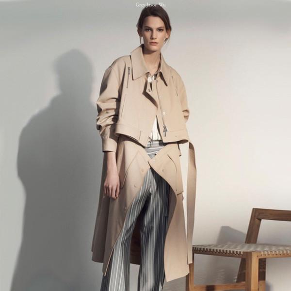 LANMREM 2018 moda nueva mujer coreana chaqueta de cuello redondo dos vías usa cremalleras patcwork dos pcs windebreaker WC70304M