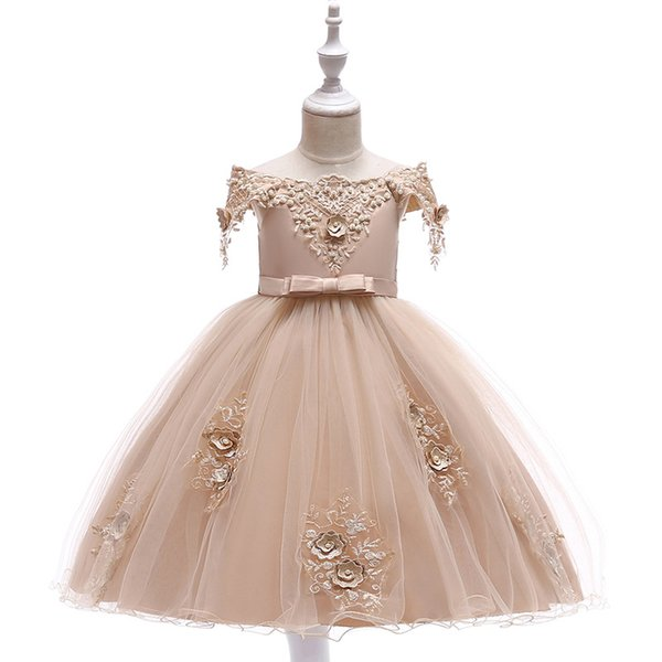Embroidered Pearl Flower Girls Dress Kids Princess Wedding Prom Designs Ball Gown Teenager Evening Dresses For Girl Clothes