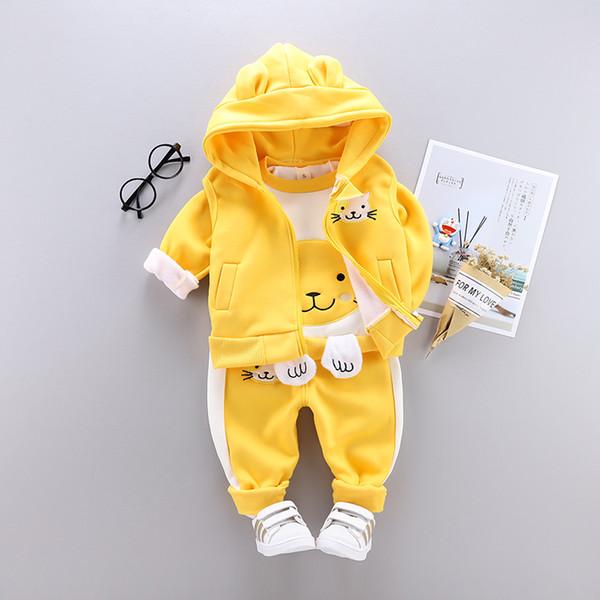 3 pezzi neonati maschi vestiti per ragazze set simpatici gattini con cappuccio in cotone caldo spesso imbottito con cappuccio in cotone + top + pantaloni per abbigliamento invernale per bambini
