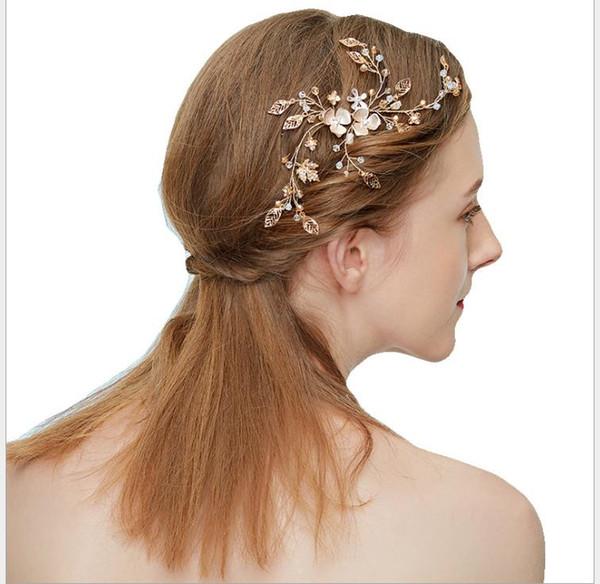 Korean version of simple alloy flower braided diamond-inlaid bridal headdress wedding Hairband