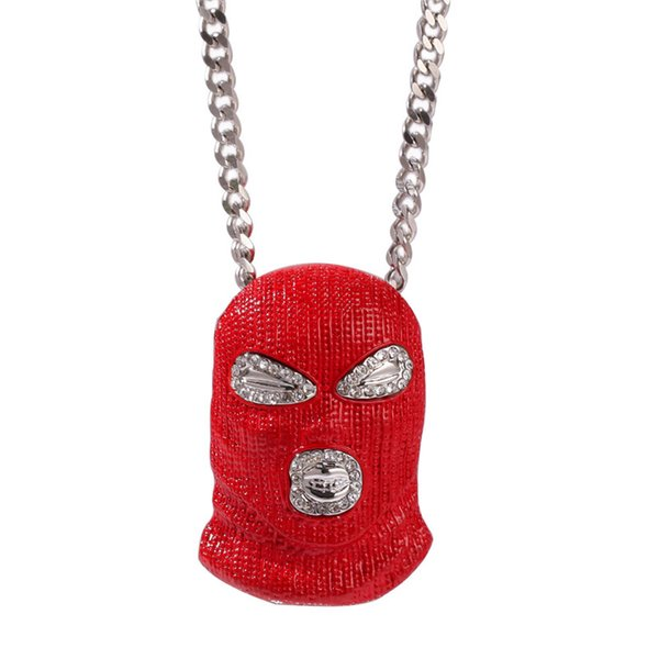 Red Mask Pendant Mens Hiphop Necklace Cool Hip Hop Pendant Necklace Iced Out Black Gold Plated Jewelry