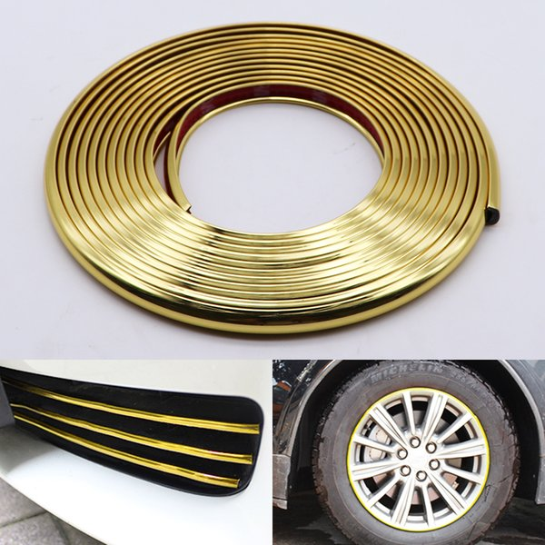 8M Car Styling Bumper Moulding Trim Strip Wheel Hub Protection Adhesive Grille Impact Gold Decorative Strip Car Accessories