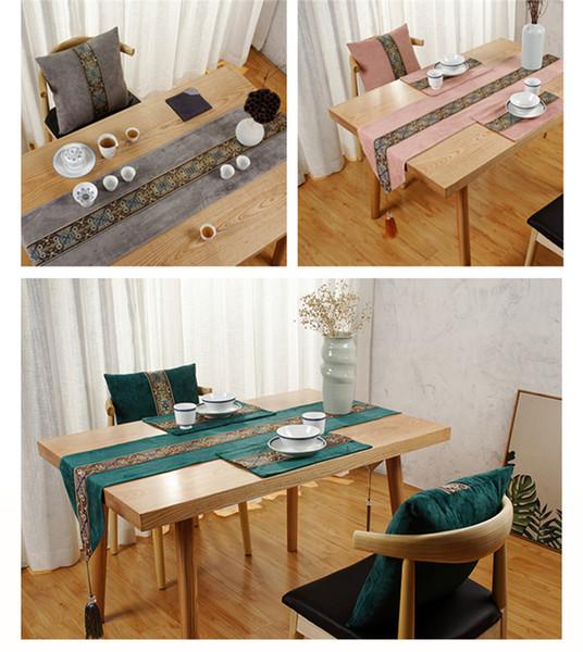 테이블과 테이블 플래그 중국 스타일 소파 쿠션 쿠션 간단한 식사 매트 거실 차 테이블 차 매트 천으로 예술