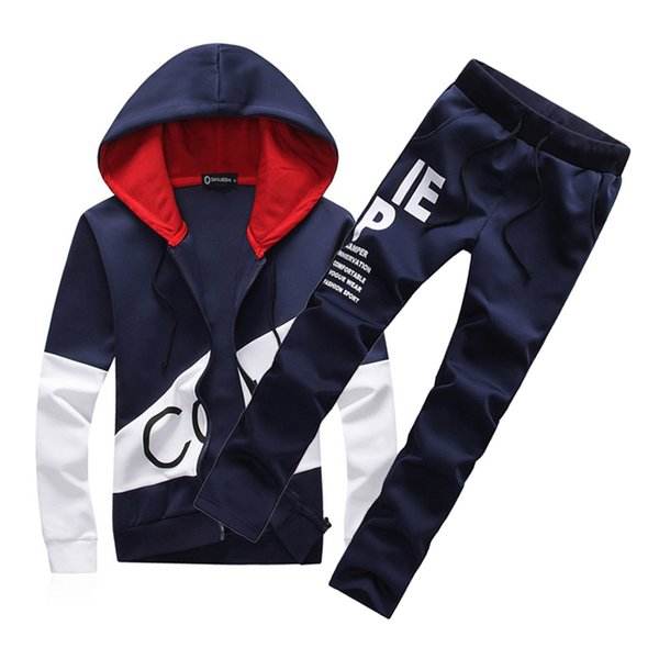 carawayo / Trainingsanzug Herren Trainingsanzug Set Fashion Style 2 Stück Freizeit Mantel Sweatshirt Hosen Sportswear Herren Plus Size Hoodies Trainingsanzüge