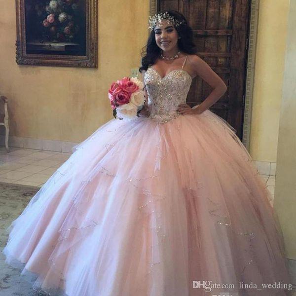 2019 Chic Pembe Balo Quinceanera Elbise Spagetti Sapanlar Tül Tatlı 16 Yaş Uzun Kızlar Parti Pageant elbise Artı Boyutu Custom Made