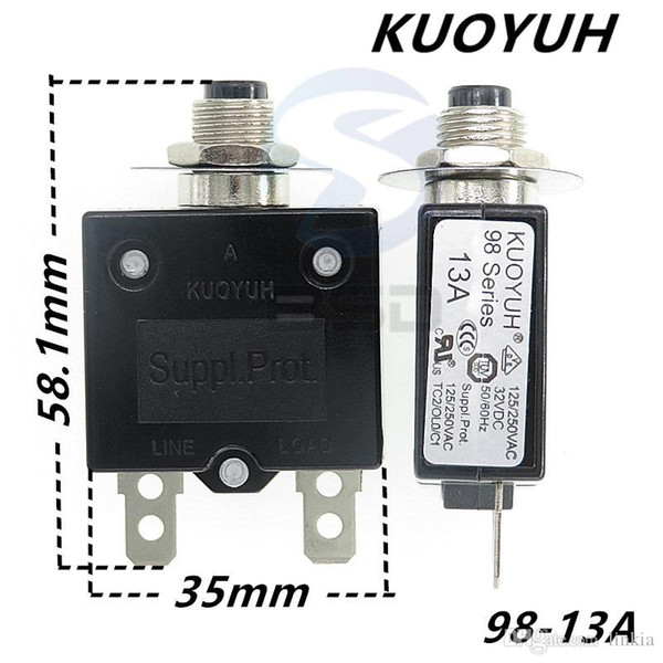 top popular Taiwan KUOYUH 98 Series-13A Overcurrent Protector Overload Switch 2021