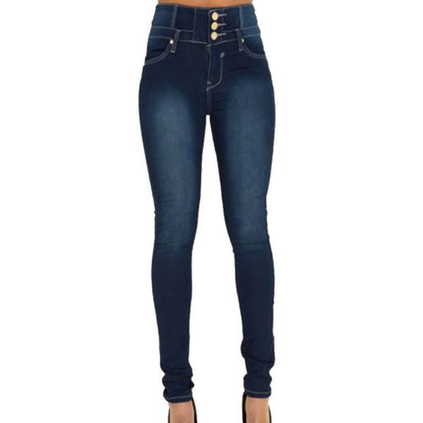 For Women Black Waist Woman High Elastic Plus Size Stretch Jeans Female Washed Denim Skinny Pencil Pants C19041201