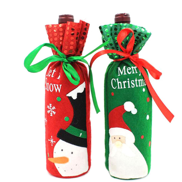 Hot 1Pc Santa Claus Snowman Design Wine Bottle Cover Red Wine Gift Bags Pretty Christmas Decoration Supplies Xmas Home Ornaments