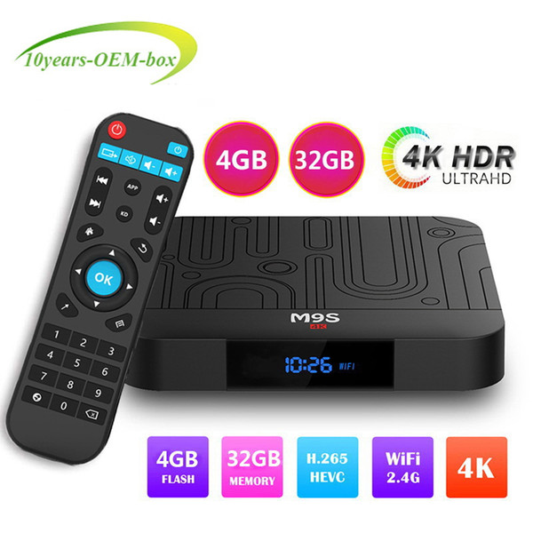 [2019 Newest 4G 32G TV Box]TV BOX M9S J1 RK3328 4K Android 8.1 Smart TV Box Support 2.4G WIFI Media Player Better H96 X96 MAX A9X T95Q T9