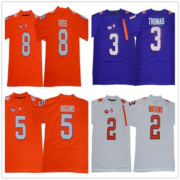 2019 Ncaa 2019 Clemson Tigers 8 Justyn Ross 9 Travis Etienne Jr 3 Thomas 5 Tee Higgins Purple White Orange Football Jerseys Stitched Logos From