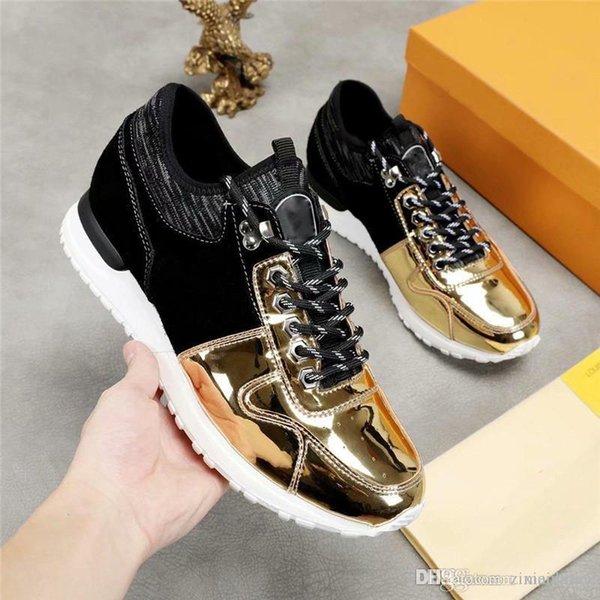 2019NewisVuitton 2019LV Line Up Monogram GlazeNewTrocadero RIVOLI Black Gold run away Shoes Sneakers With Box