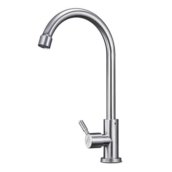 Le robinet froid simple de cuisine en acier inoxydable 304 peut faire pivoter le robinet d'évier brossé le robinet d'évier plat