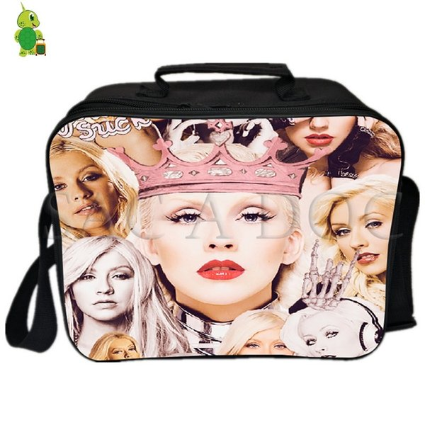 Christina Aguilera Collages Lunch Bag Women Men Fresh Keeping Cooler Bag Insulation Thermal Ice Pack Drink Picnic