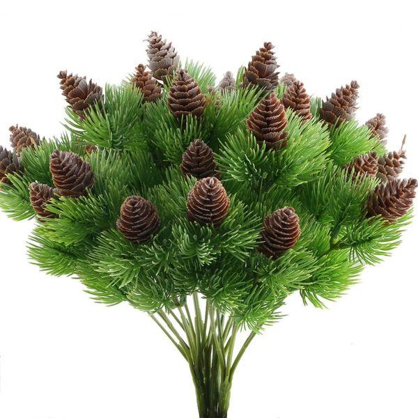 4 PCS faux cèdre branches de pin avec cônes de pin artificiels arbustes en plastique Faux verdure buissons Bundles table centres de table Arrang