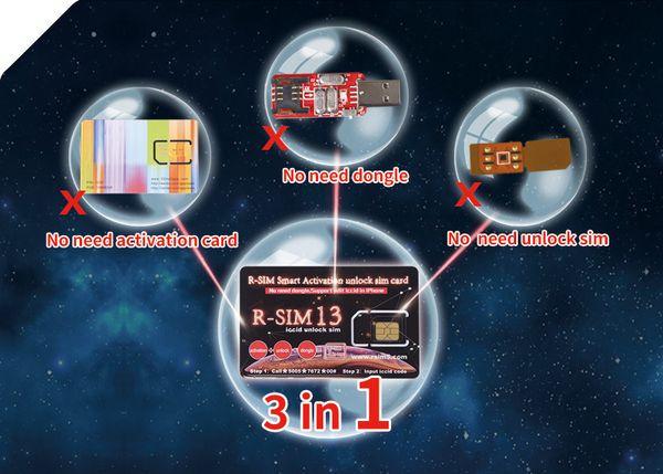 Nuova originale Rsim 13 Smart Activation Sbloccare la SIM Card Heicard Sbloccare la scheda per iPhone 7 8 XS MAX IOS12 Support Edit Iccid