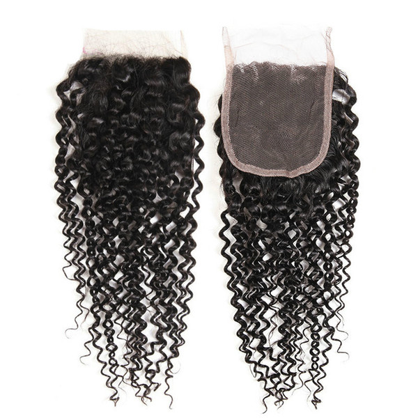 Musi 100% Remy Human Hair Closure Swiss Lace Malaysian Kinky Curly Hair Extension Free Part With Baby Hair For Black Women