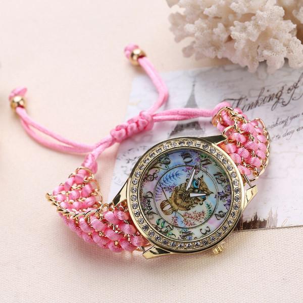 Dropshipping dei monili dell'orologio della cinghia delle donne di modo 2018 dei braccialetti dei braccialetti intrecciati regolabili