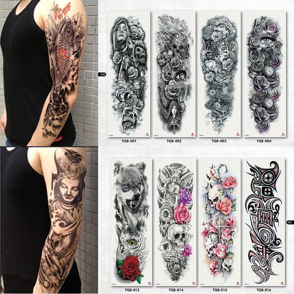Günstige temporäre Tattoos NEU 4 Blatt große temporäre Tattoos Aufkleber Männer Arm Ärmel Lelft Schulter Fake Tattoo Body Art Aufkleber Twinset 3d