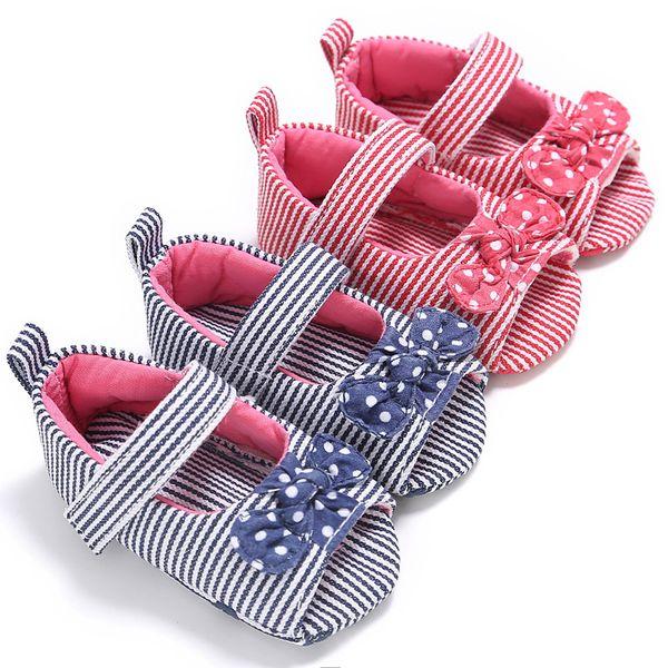 Neugeborenes Baby Schuhe Mädchen Streifen Bogen Prewalker Weiche Sohle Single Schuhe Sandalen Buty Damskie Sandalia Feminina Mädchen