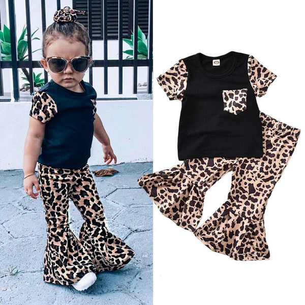 2pcs Toddler Kids Baby Girl Leopard Clothes Sets Short Sleeve T-shirt Tops+Long Pants Outfits Set