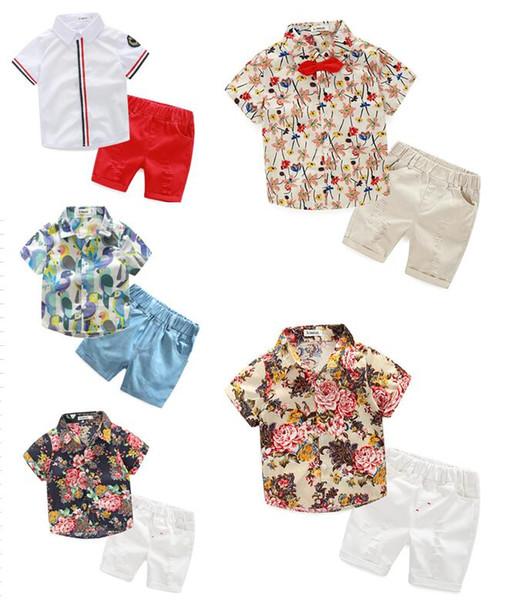 2 unids / lote Baby Boy ropa Niños Camisas Florales con Algodón Pantalones cortos Niños Moda Caballero Trajes de Verano Juegos Casuales Ropa