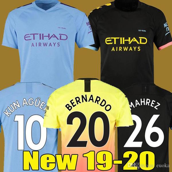 Top Tailândia JESUS De Bruyne KUN AGUERO 19 20 Manchester City camisa de futebol 2020 SANE Jesus camisa camisa de futebol homens + crianças kit conjuntos de uniforme
