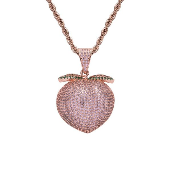 Full strass mel pêssego pingente de colar rosa suculento pêssego charme jóias de hip hop jóias para as mulheres do partido transporte da gota