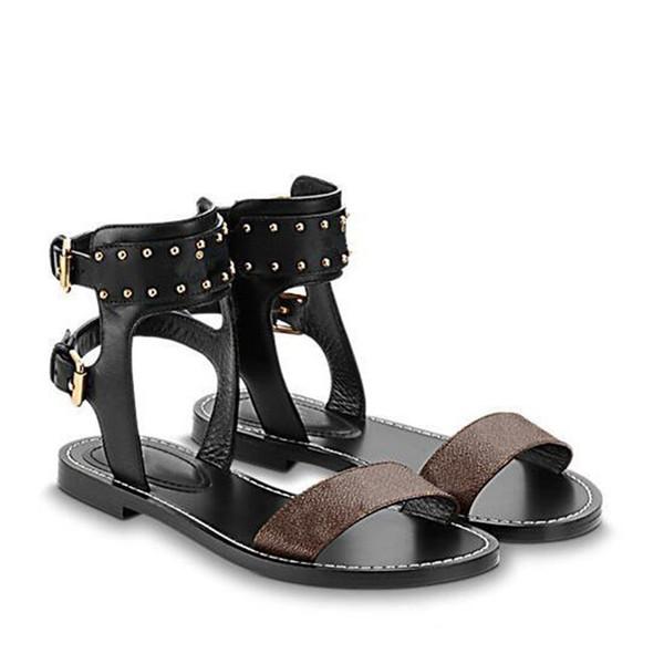 2019 Populares de Verano de Cuero Genuino Lienzo Gladiador Pisos Zapatos Remaches Tachonado Nomad Sandalias de Mujer Tobillo Wrap Partido Moda Verano Zapatos