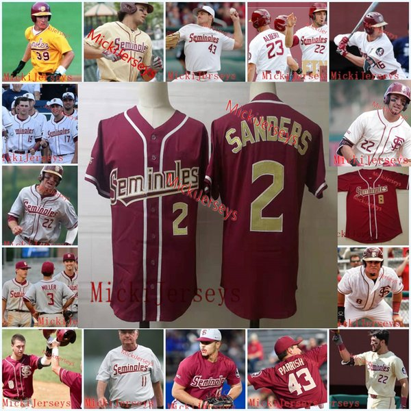 Mens benutzerdefinierte Florida State Seminoles Baseball Trikot Buster Posey Deion Sanders Dick Howser JD. Drew Mike Martin Larry Rothschild FSU Jersey