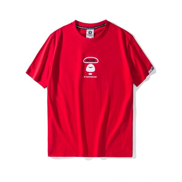 Aape Mens À Manches Courtes Mens Designer À Manches Courtes Noir Rouge Hommes Femmes Haute Qualité De La Mode T-shirt En Coton Imprimé Tee