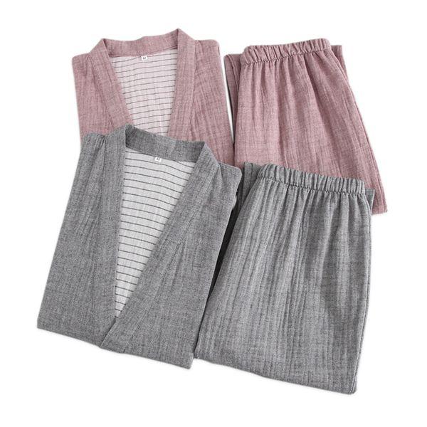 Pareja japonesa batas de kimono hombres y mujeres conjuntos de pijamas de calidad 100% gasa batas de algodón sauna masculina trajes de baño interiores
