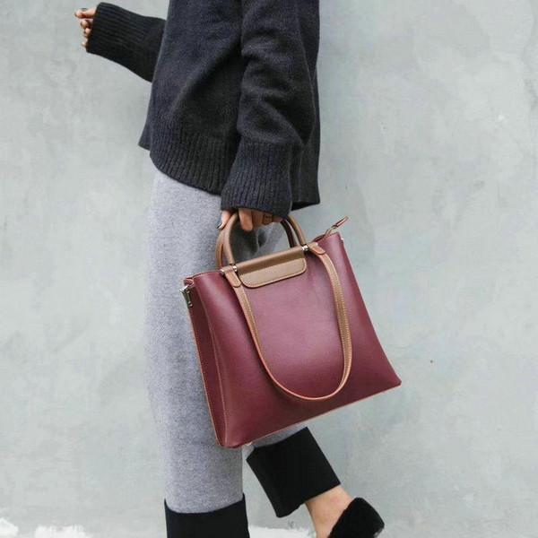 Европейская и американская мода простая ретро большая емкость PU кожаная сумка