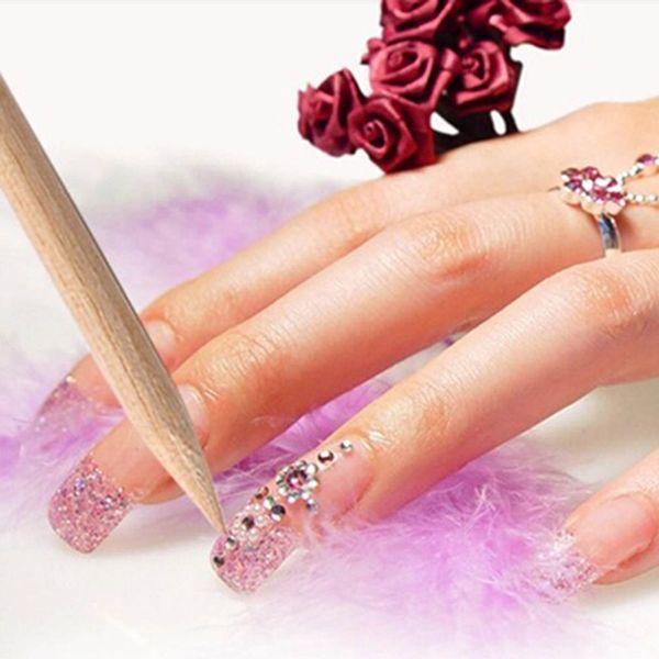 100Pcs Nail Art Orange Wood Stick Cuticle Pusher Remover Pedicure Manicure Tool Free Shipping Wholesale Sets & Kits