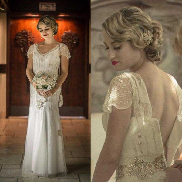 Discount Glamorous 1920\u0027S Inspired Bohemian Wedding Dresses Cap Sleevs V  Neck Beading Boho Bridal Gowns Beads Zipper Plus Size Wedding Dresses  Tidebuy