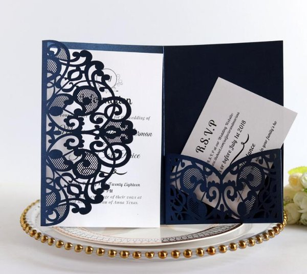 2019 Free Ship Laser Cut Hollow Flower Wedding Invitations Cards