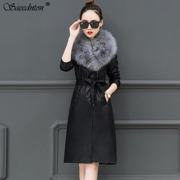 2019 Winter Women Fashion Big Fur Collar Leather Jacket Female Lambswool Filling Faux Pu Thick Warm Sashes Outwear Leather Coats