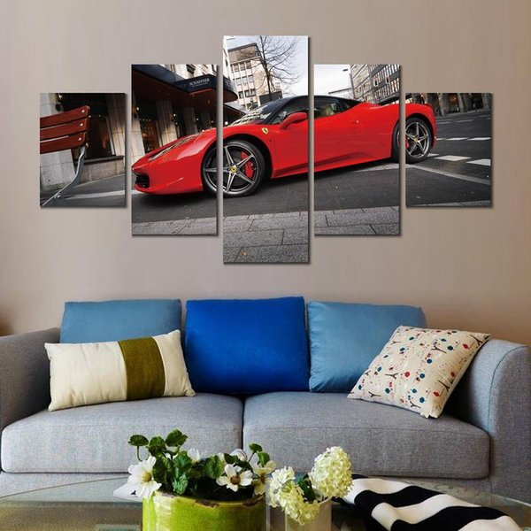 5 sets red parking ferrari italia canvas print arts pictures for dining room decor