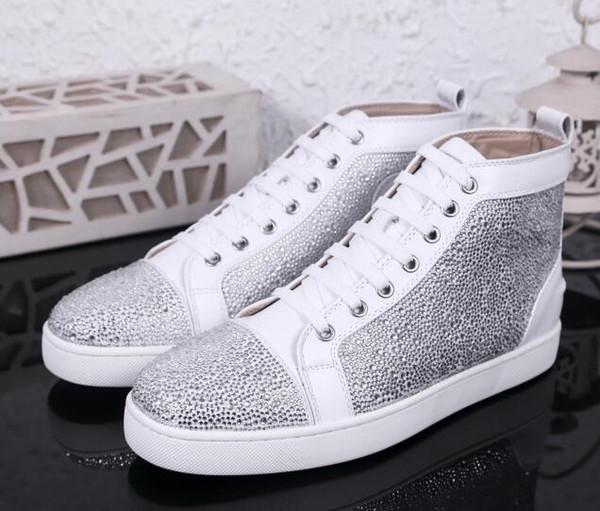 2019 nuevo rojo inferior punta redonda zapatos ocasionales hasta tachonado cristal mocasín unisex de lujo del cordón 36-47 Modelo zapatos de los pares zapatos de buena Ocio 36-47